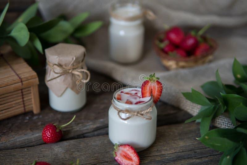 Download Organic Yougurt In Jar With Strawberry. Fresh Strawberry With Yo Stock Photo - Image of creamy, glass: 101736756