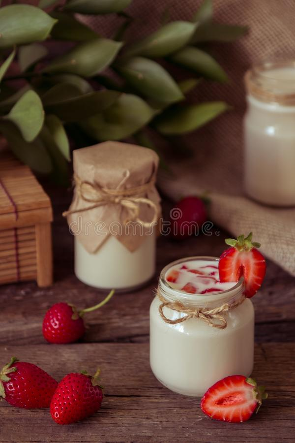 Download Organic Yougurt In Jar With Strawberry. Fresh Strawberry With Yo Stock Photo - Image of dessert, fresh: 102052914