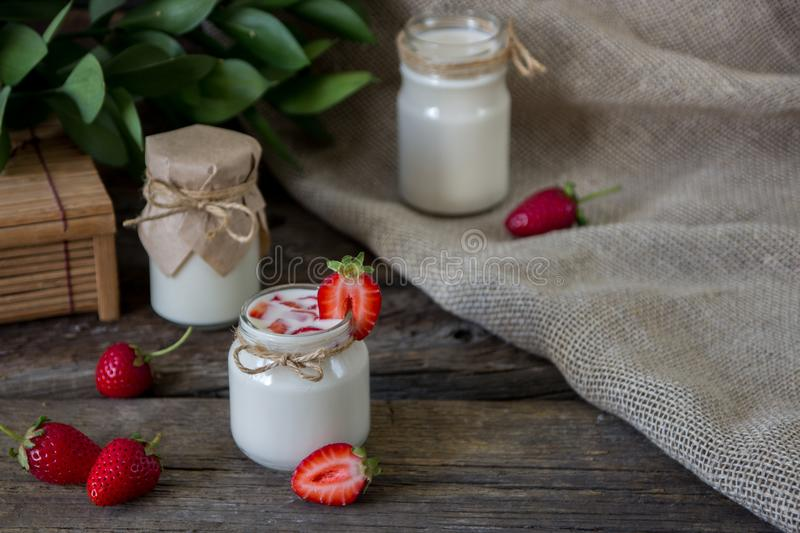 Download Organic Yougurt In Jar With Strawberry. Fresh Strawberry With Yo Stock Photo - Image of creamy, fruit: 102052918