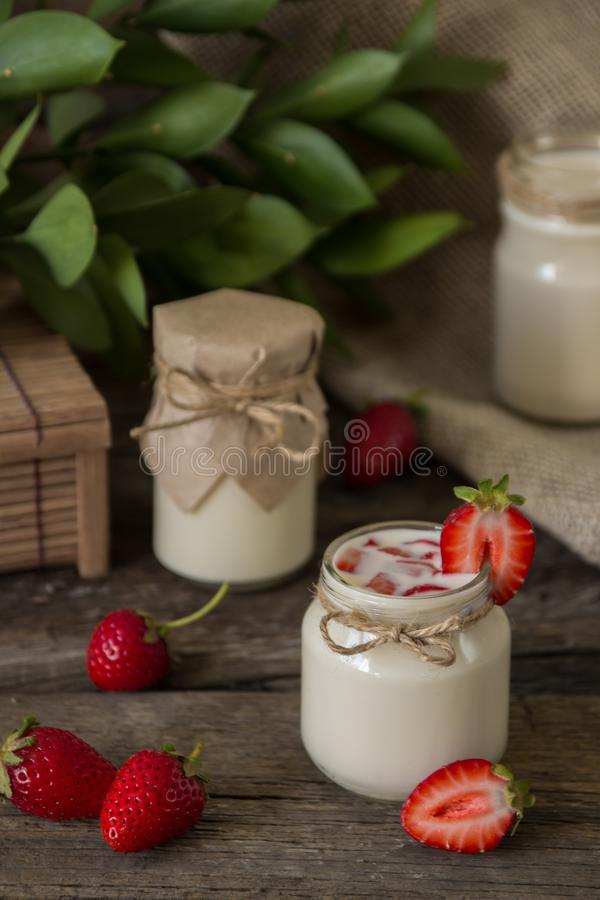 Download Organic Yougurt In Jar With Strawberry. Fresh Strawberry With Yo Stock Photo - Image of glass, drink: 102052922