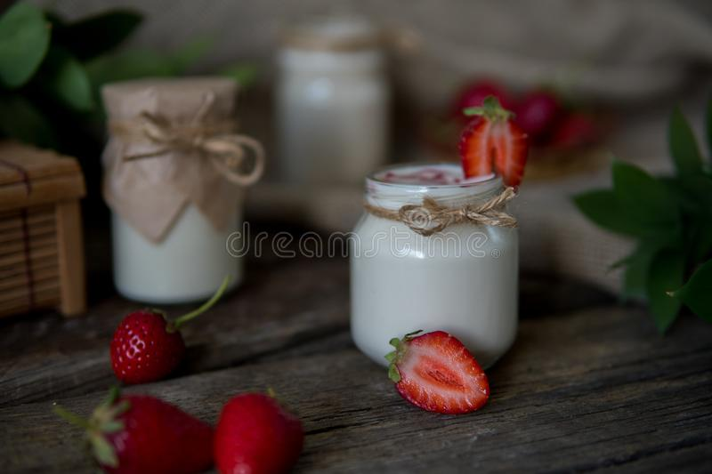 Download Organic Yougurt In Jar With Strawberry. Fresh Strawberry With Yo Stock Image - Image of gourmet, healthy: 102052939