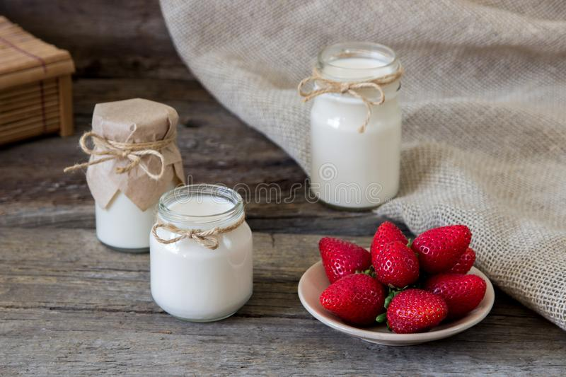 Download Organic Yougurt In Jar With Strawberry. Fresh Strawberry With Yo Stock Image - Image of berry, smoothie: 102053055