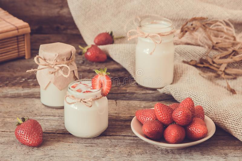 Download Organic Yougurt In Jar With Strawberry. Fresh Strawberry With Yo Stock Image - Image of nutrition, fresh: 102125235