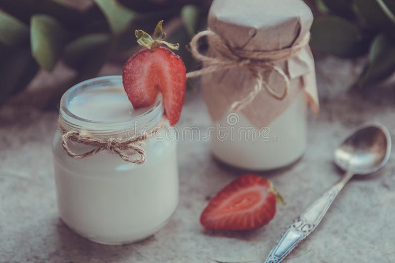 Download Organic Yougurt In Jar With Strawberry. Fresh Strawberry With Yo Stock Photo - Image of smoothie, berry: 102125264