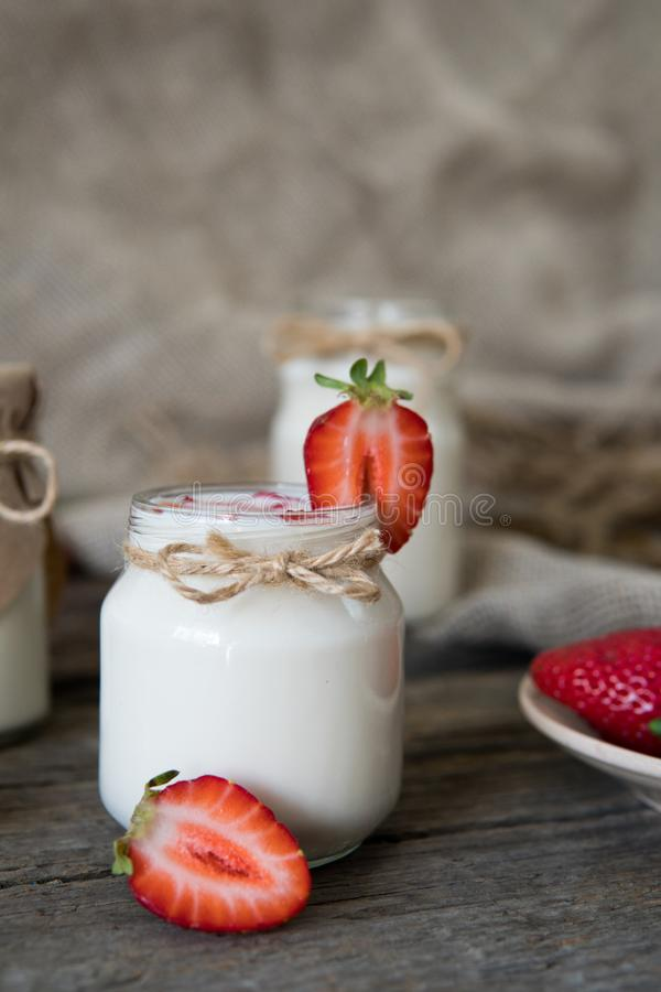 Download Organic Yougurt In Jar With Strawberry. Fresh Strawberry With Yo Stock Image - Image of glass, freshness: 101253717