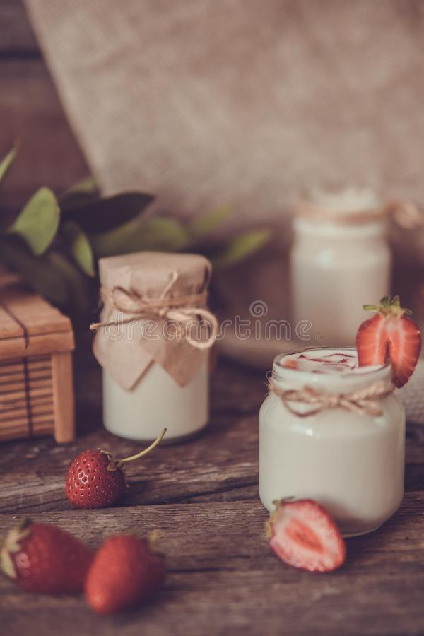 Download Organic Yougurt In Jar With Strawberry. Fresh Strawberry With Yo Stock Image - Image of drink, spoon: 102052739