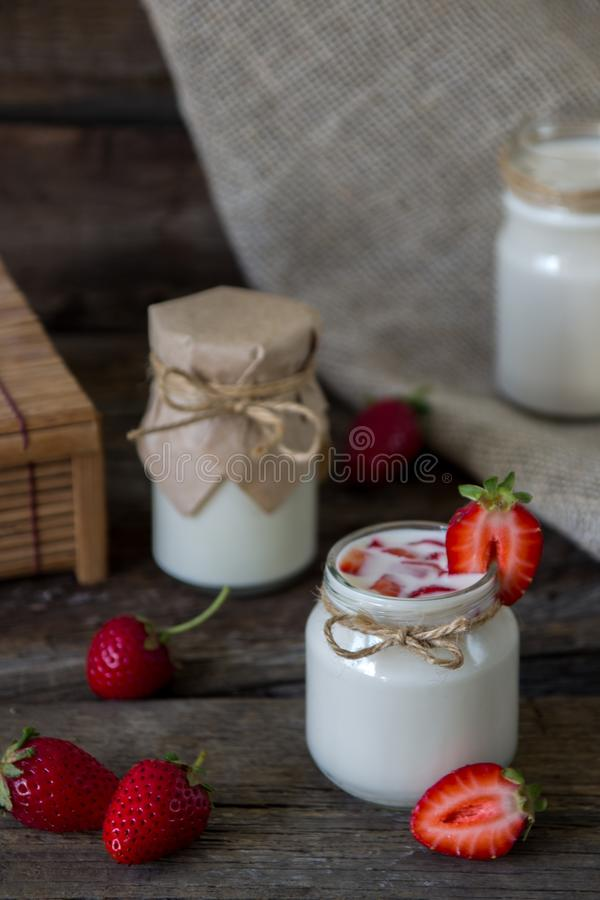 Download Organic Yougurt In Jar With Strawberry. Fresh Strawberry With Yo Stock Photo - Image of cream, healthy: 102125256