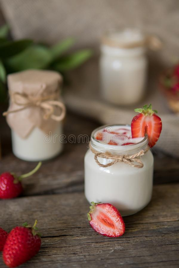 Download Organic Yougurt In Jar With Strawberry. Fresh Strawberry With Yo Stock Photo - Image of background, berry: 102052816