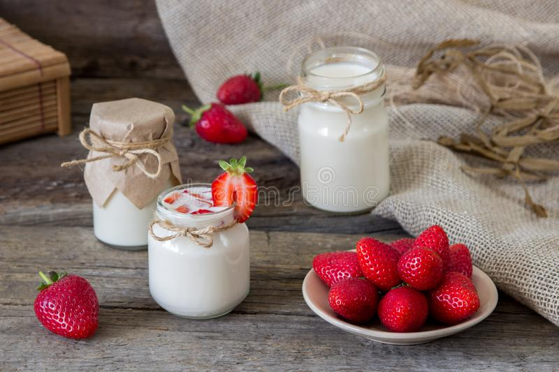 Download Organic Yougurt In Jar With Strawberry. Fresh Strawberry With Yo Stock Photo - Image of dessert, freshness: 102053060