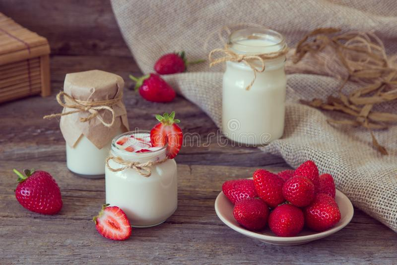 Download Organic Yougurt In Jar With Strawberry. Fresh Strawberry With Yo Stock Image - Image of food, dessert: 102053085