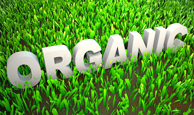 Organically Grown. Orgranically Grown in Organic Environment as 3d stock illustration