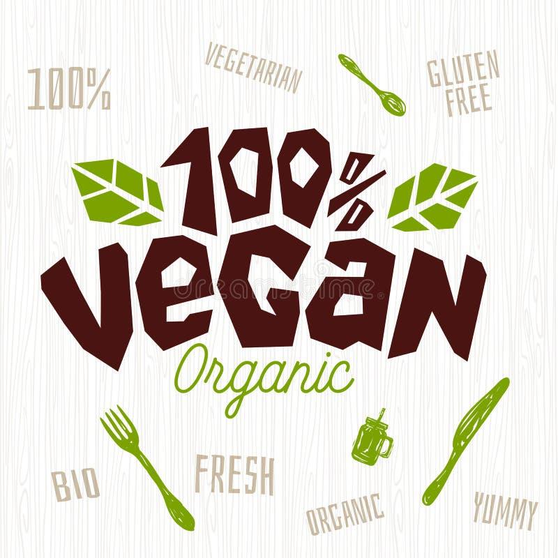 Organico fresco di logo del caffè del negozio del vegano, elemento vegetariano di progettazione della forcella del coltello del s illustrazione vettoriale
