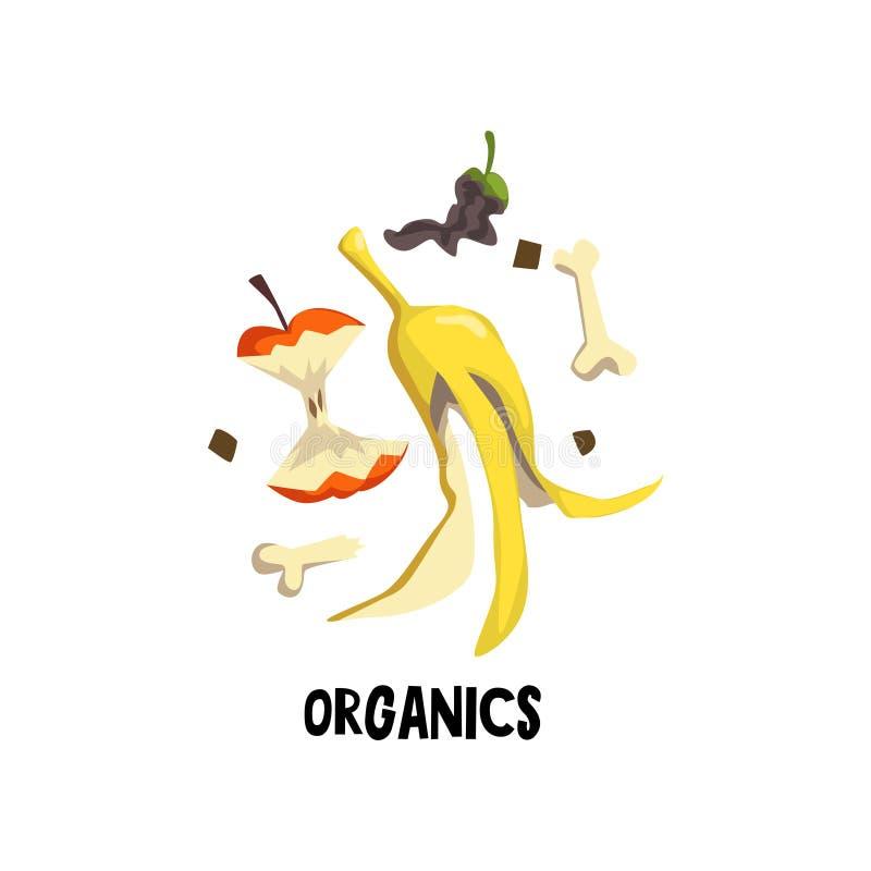 Organicznie ściółki kość, łupa banan i karcz jabłko, jedzenie przegniły Płaska wektorowa ilustracja przetwarza odpady i ilustracja wektor