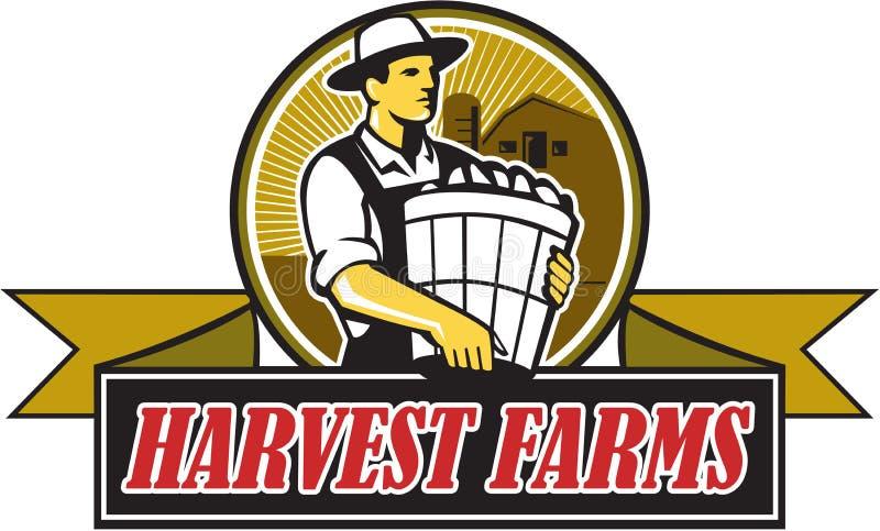 Organicznie Średniorolny żniw gospodarstw rolnych okrąg Retro ilustracji