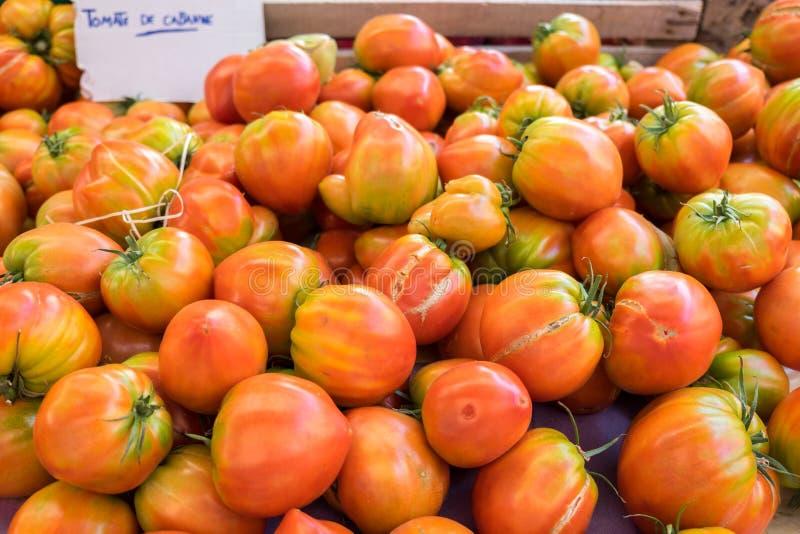 Organicznie świezi czerwoni żółci pomidory sprzedający przy miejscowym wprowadzać na rynek zdjęcia stock