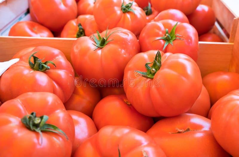 Organicznie świezi czerwoni pomidory sprzedający przy miejscowym wprowadzać na rynek w Provence fotografia royalty free