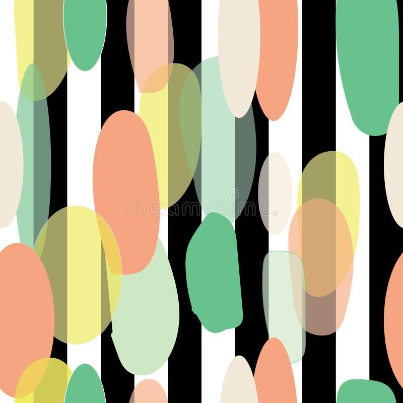 Organicznie abstrakcjonistyczny nowożytny żółtej zieleni pomarańczowy seameless wzór na czarny i biały lampasa tle ilustracja wektor