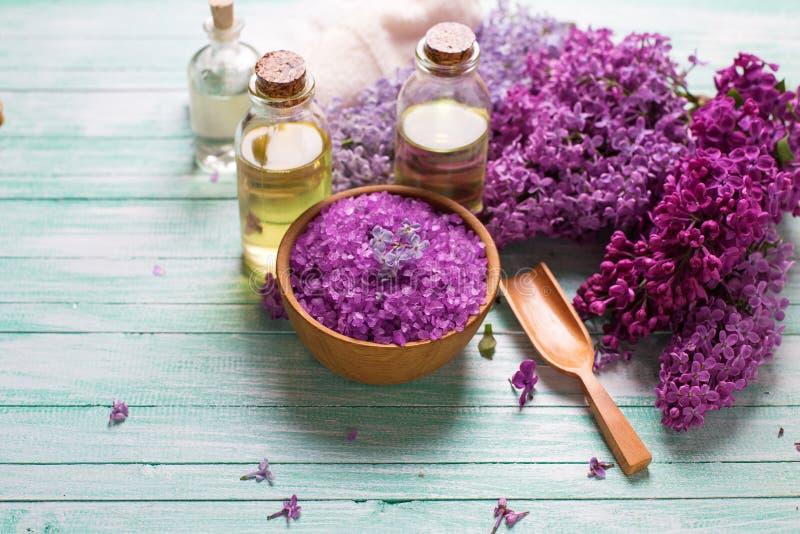 Organicznie aromat oliwi, morze sól, bzów kwiaty zdjęcia royalty free