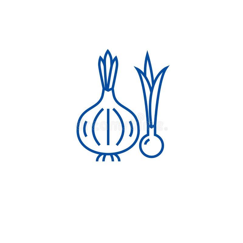 Organicznie cebuli linii ikony pojęcie Organicznie cebulkowy płaski wektorowy symbol, znak, kontur ilustracja ilustracja wektor