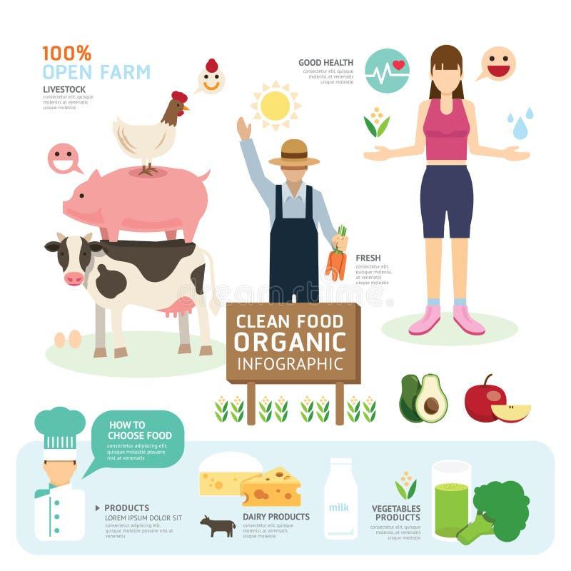 Organicznie Czysty Foods dobre zdrowie szablonu projekt Infographic ilustracji