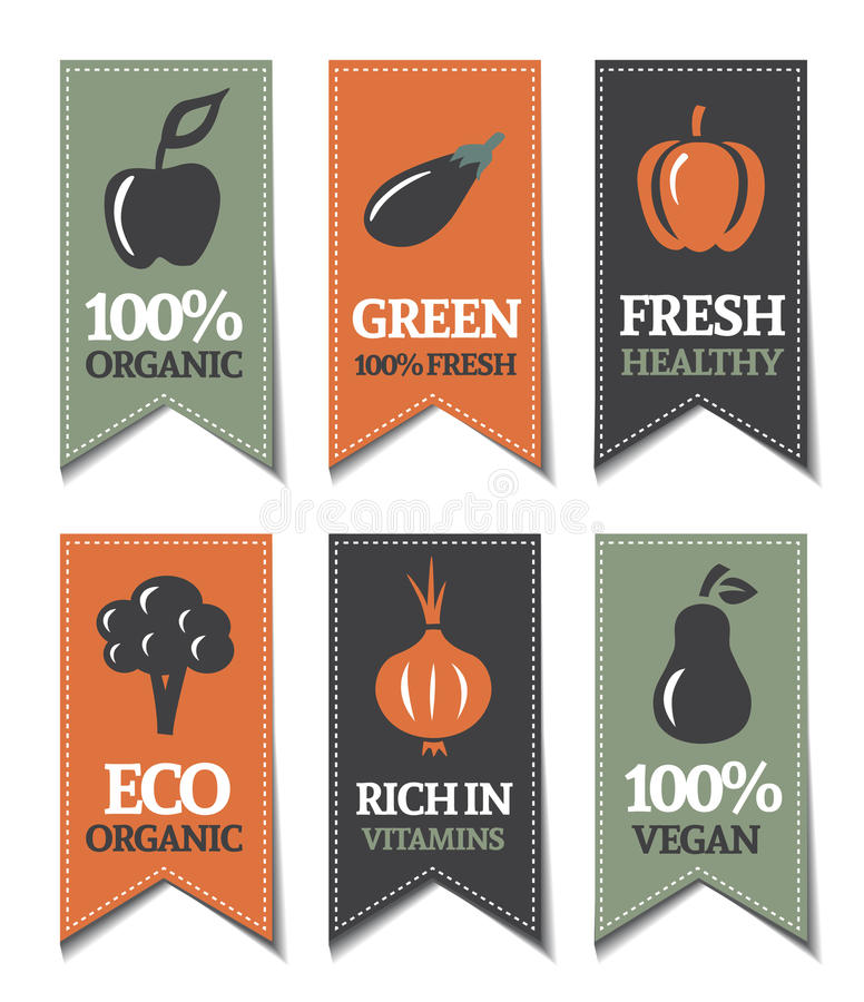 Organicznie Etykietki ilustracja wektor