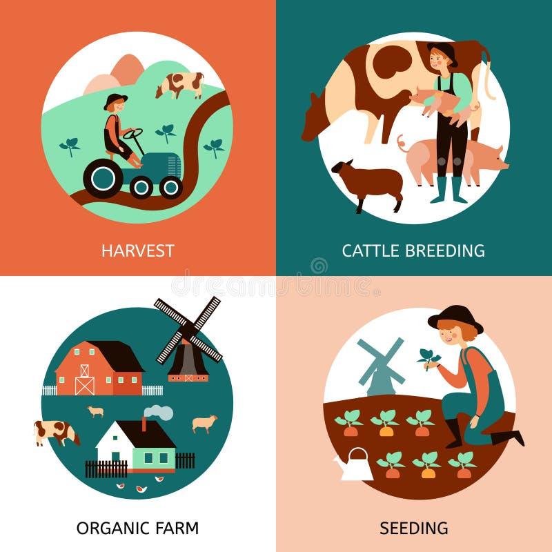 Organicznie 4 gospodarstwa rolnego ikon Płaski sztandar ilustracja wektor