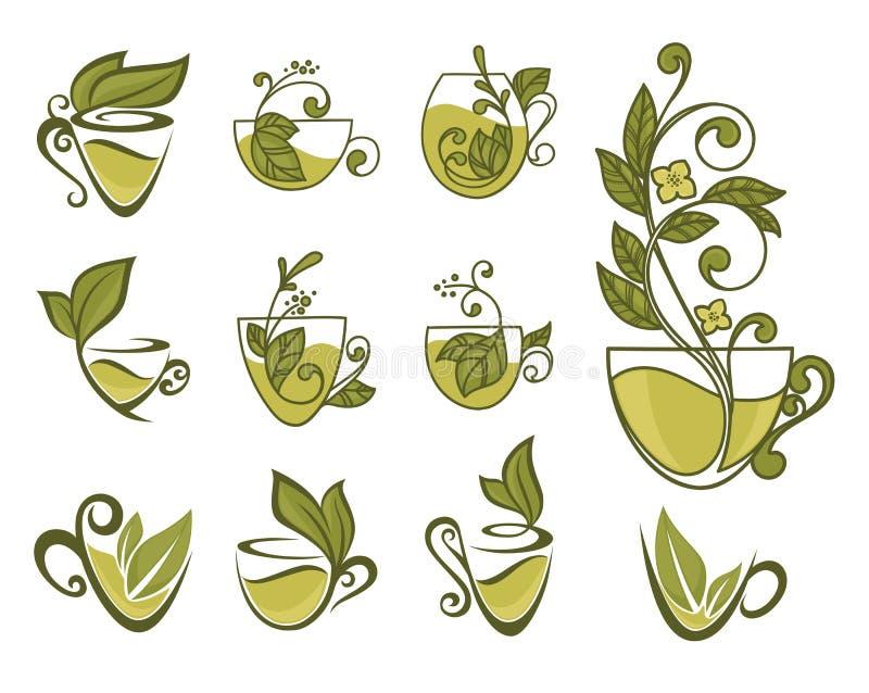 Organicznie herbaciana kolekcja royalty ilustracja