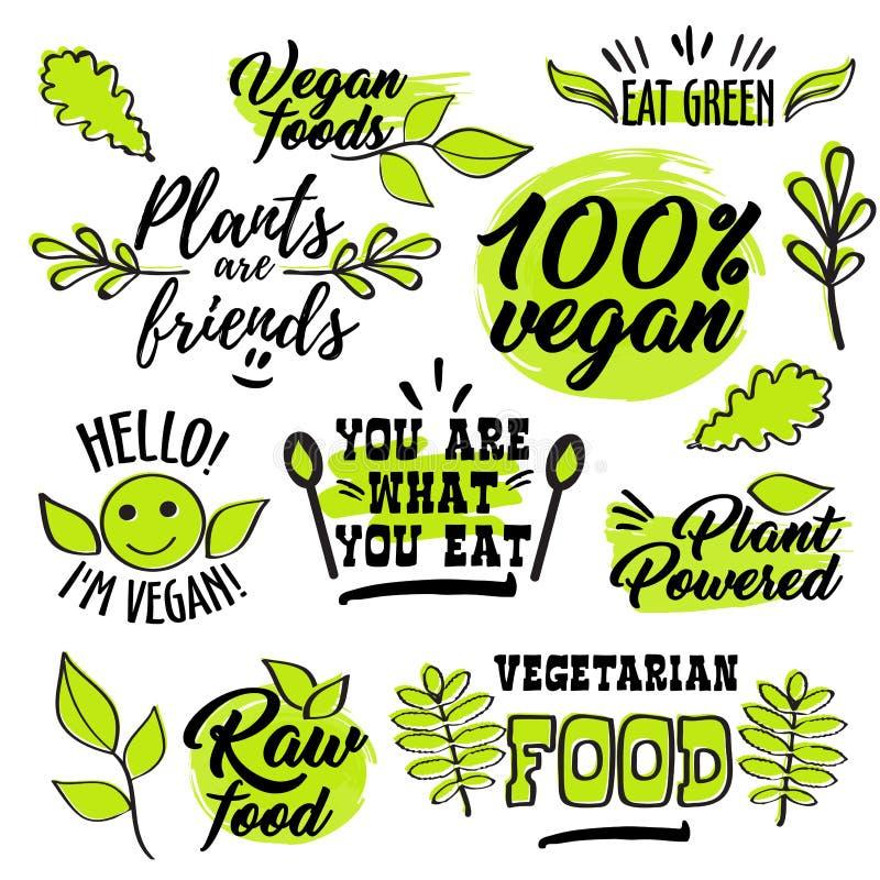 Organicznie i weganin loga etykietki ilustracji