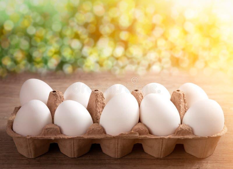 Organicznie jajka w pudełku zdjęcie royalty free