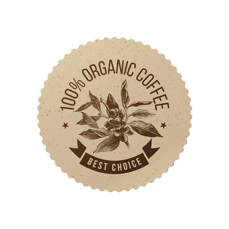 Organicznie kawowy eco emblemat ilustracja wektor