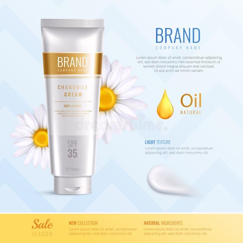 Organicznie kosmetyków składniki Reklamuje Realistycznego skład royalty ilustracja
