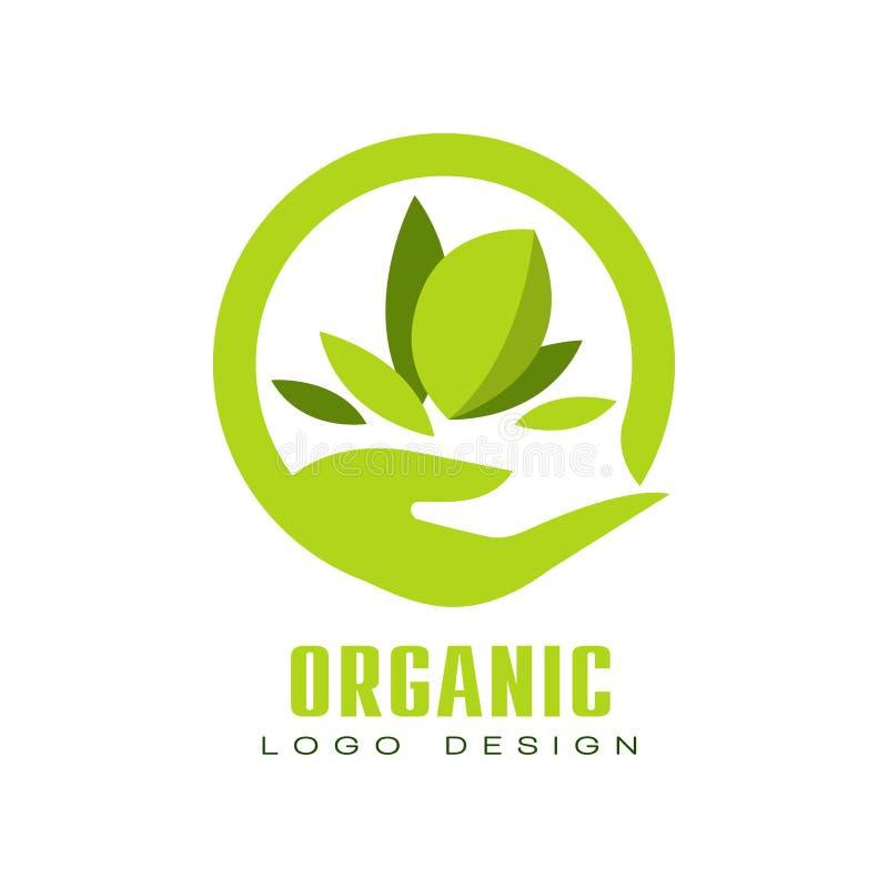Organicznie loga projekt, zdrowej premii ilości karmowa etykietka, emblemat dla kawiarni, pakuje, restauracja, rolny wektor royalty ilustracja
