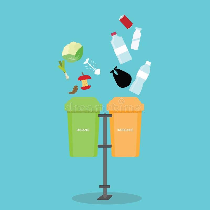 Organicznie nieorganiczny przetwarza śmieciarskiego kosza rozdzielenie segreguje oddzielnej butelki degradable jałowego grat royalty ilustracja