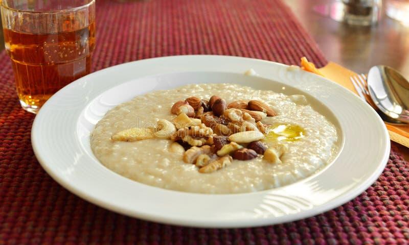 Organicznie oatmeal owsianka z różnymi dokrętkami fotografia stock