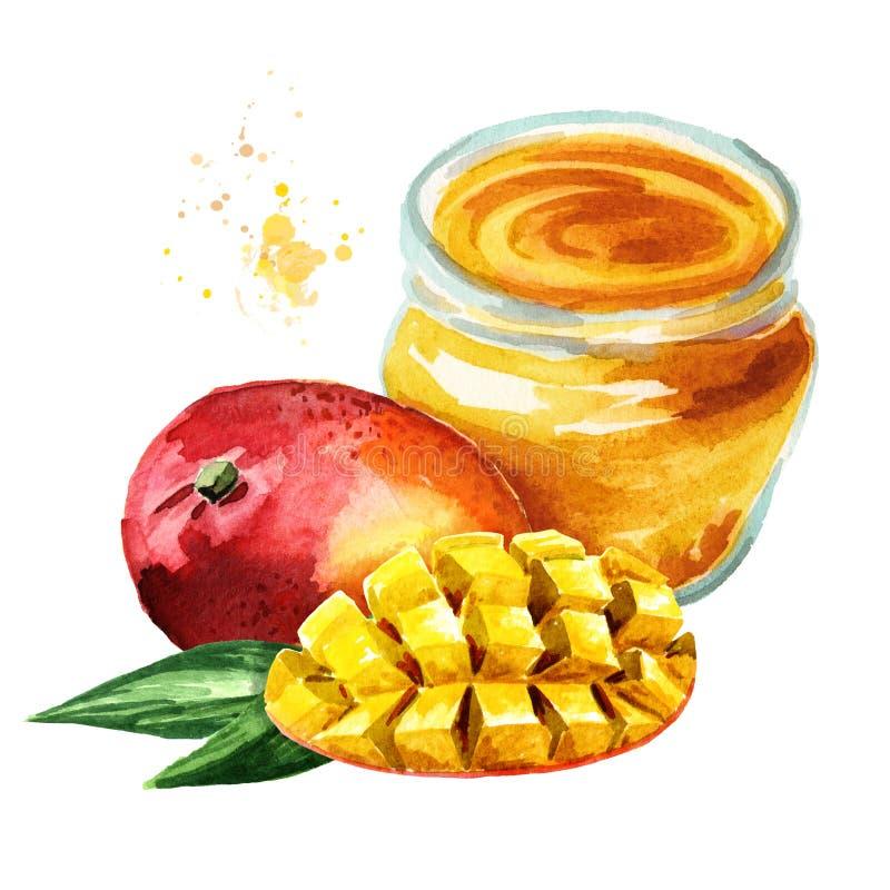 Organicznie owocowy dżem Szklany słój mangowa marmoladowa i świeża owoc odizolowywająca na białym tle Akwareli ręka rysująca ilus ilustracja wektor