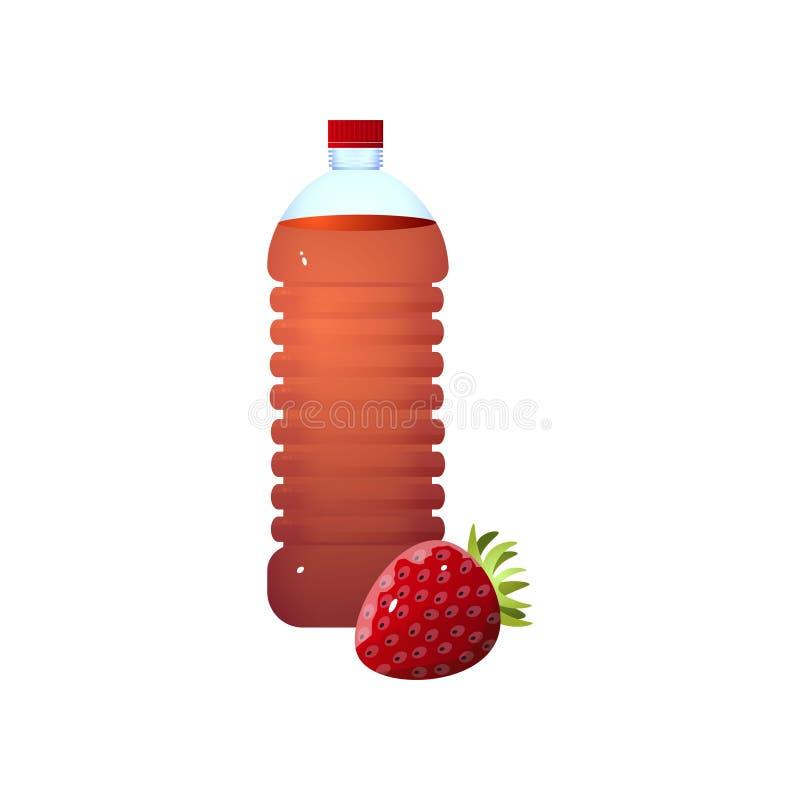 Organicznie plastikowa butelka świeży eco truskawki ocet royalty ilustracja