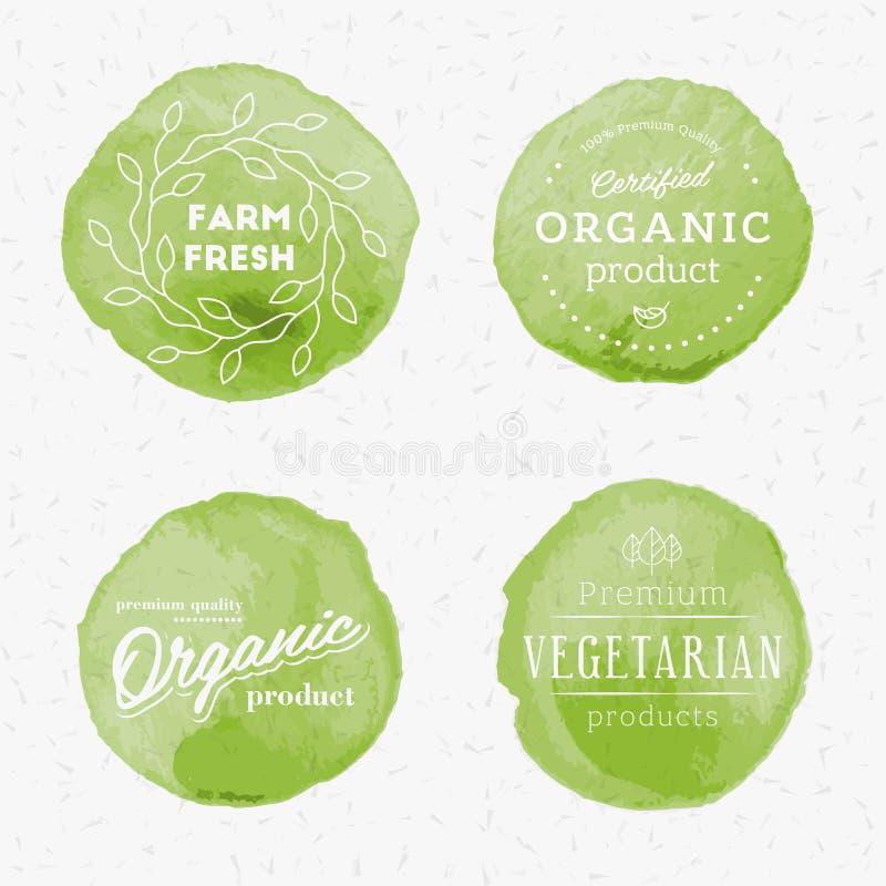 Organicznie produkt akwareli odznaki zdjęcia royalty free