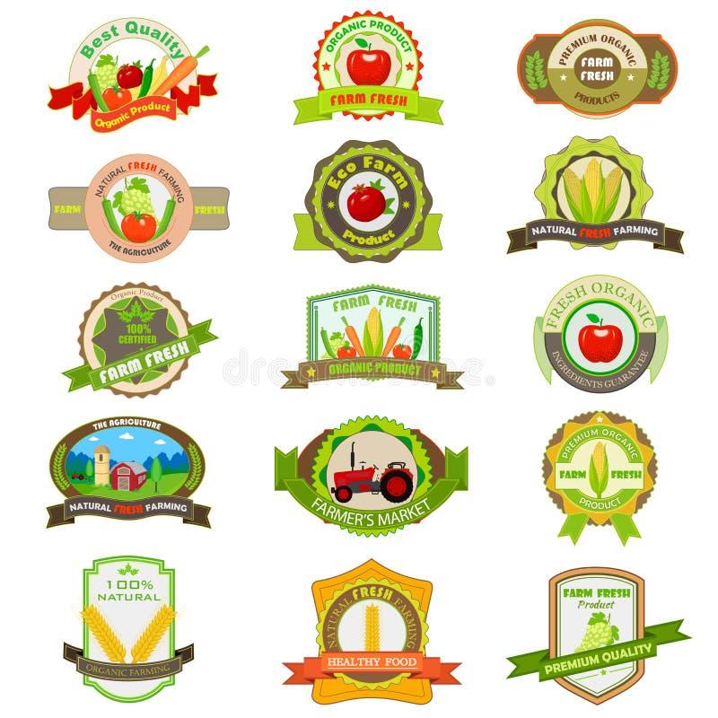 Organicznie produkt rolniczy etykietka i etykietka royalty ilustracja
