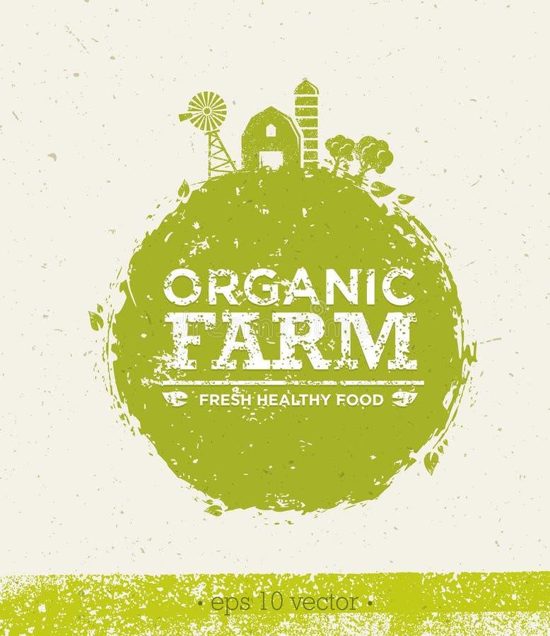 Organicznie Rolnej Świeżej Zdrowej Karmowej Eco zieleni Wektorowy pojęcie na Papierowym tle ilustracji