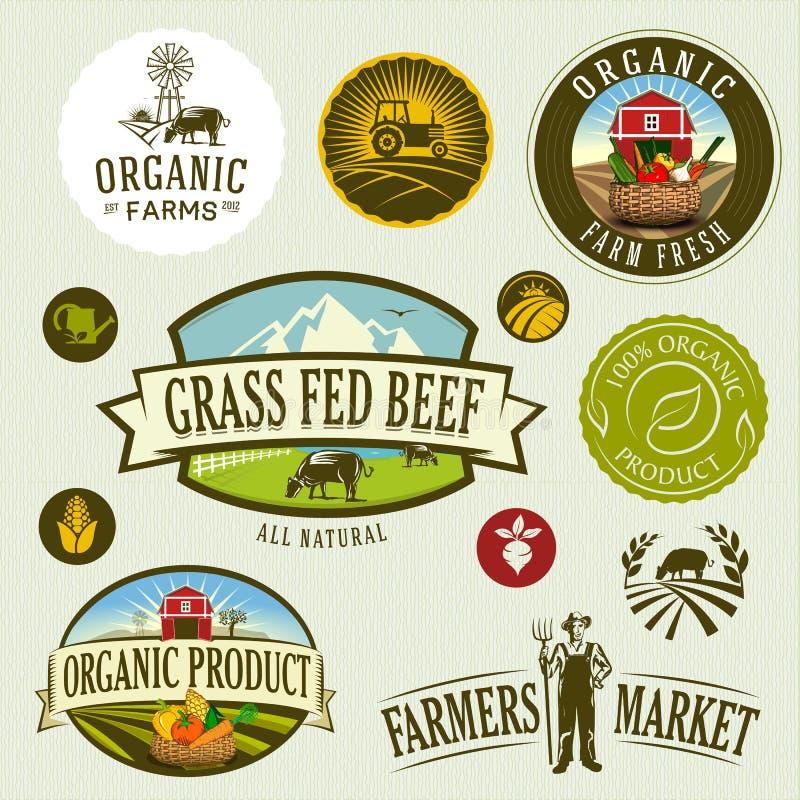 Organicznie & rolny ilustracja wektor