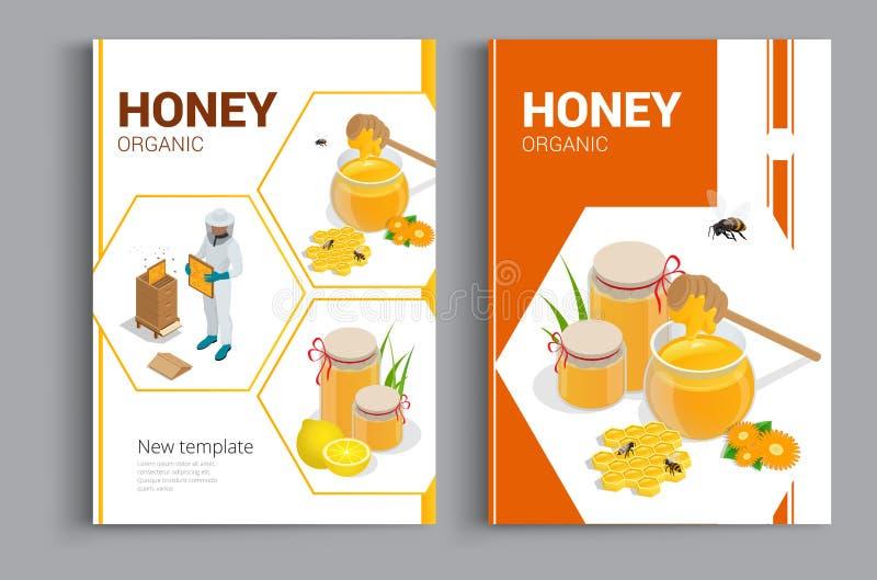 Organicznie surowa miodowa projekt broszurka Abstrakcjonistyczny skład A4 broszurki pokrywy projekt miód Galanteryjny tytułu prze ilustracja wektor