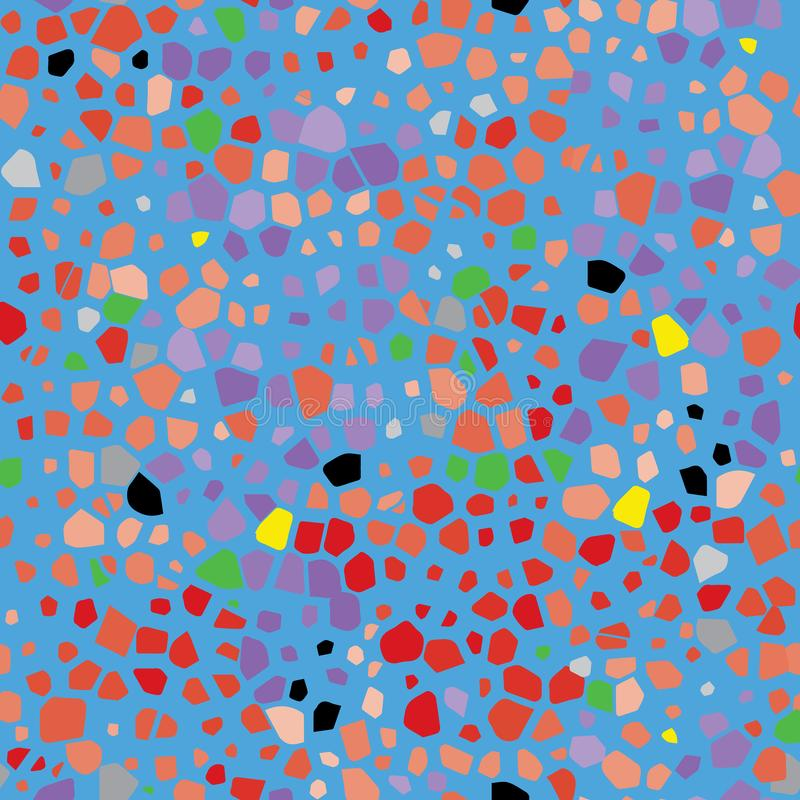 Organicznie terazzo korala menchii abstrakcjonistyczny nowożytny błękitny kolor żółty i czarny seameless wzór ilustracji