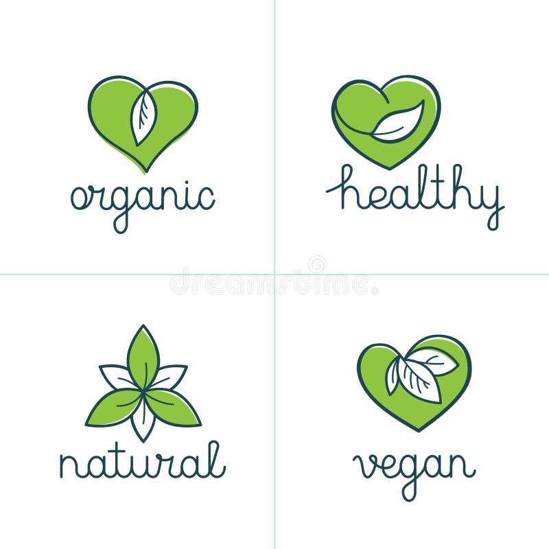 Organicznie, zdrowe i weganin odznaki, - emblematy dla jarskiego jedzenia royalty ilustracja