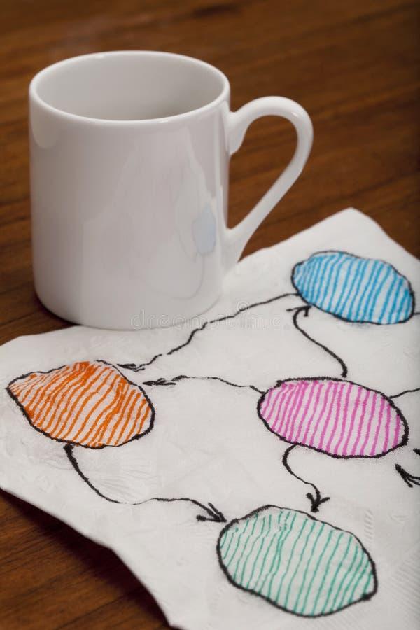 Organigrama abstracto en blanco en servilleta foto de archivo libre de regalías
