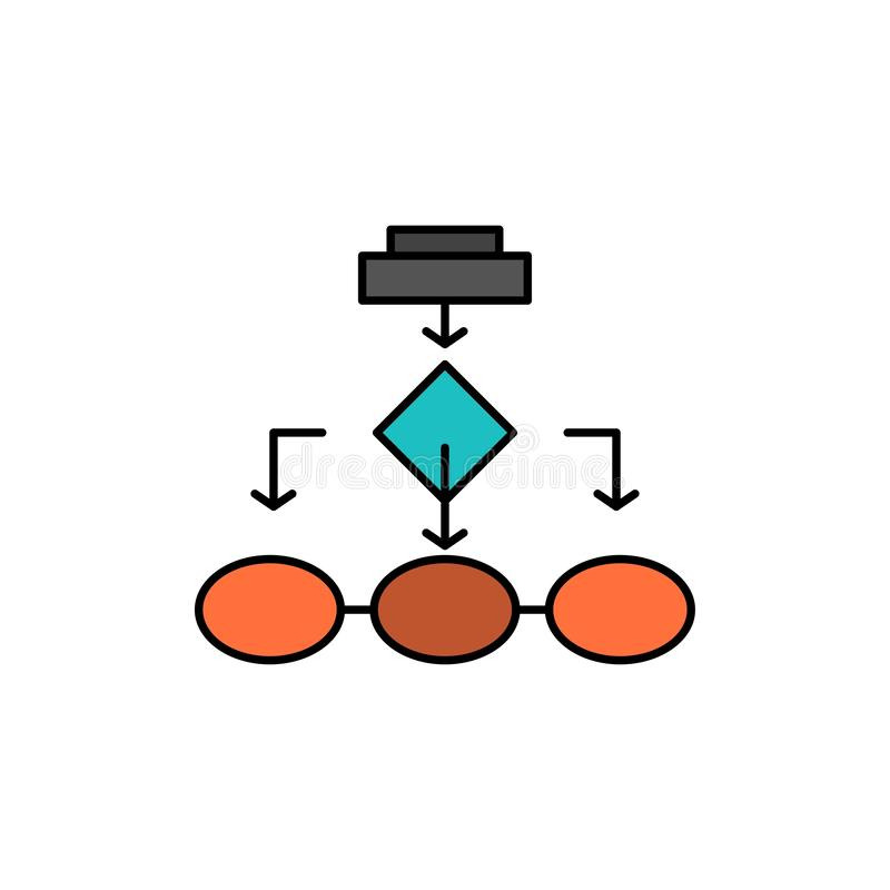 Organigrama, algoritmo, negocio, arquitectura de los datos, esquema, estructura, icono plano del color del flujo de trabajo Plant stock de ilustración