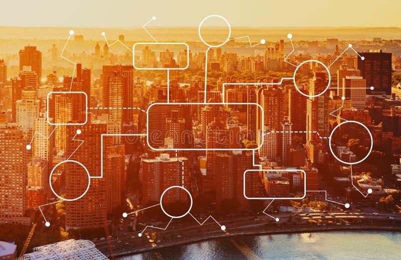 Organigrama con la vista aérea del horizonte de NY imagen de archivo