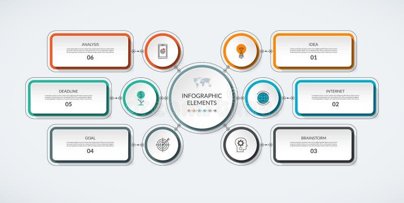 Organigrama de Infographic con 6 opciones libre illustration