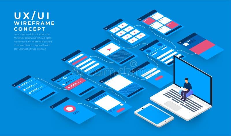 Organigrama de UX UI Concepto de la aplicación móvil de las maquetas isométrico stock de ilustración
