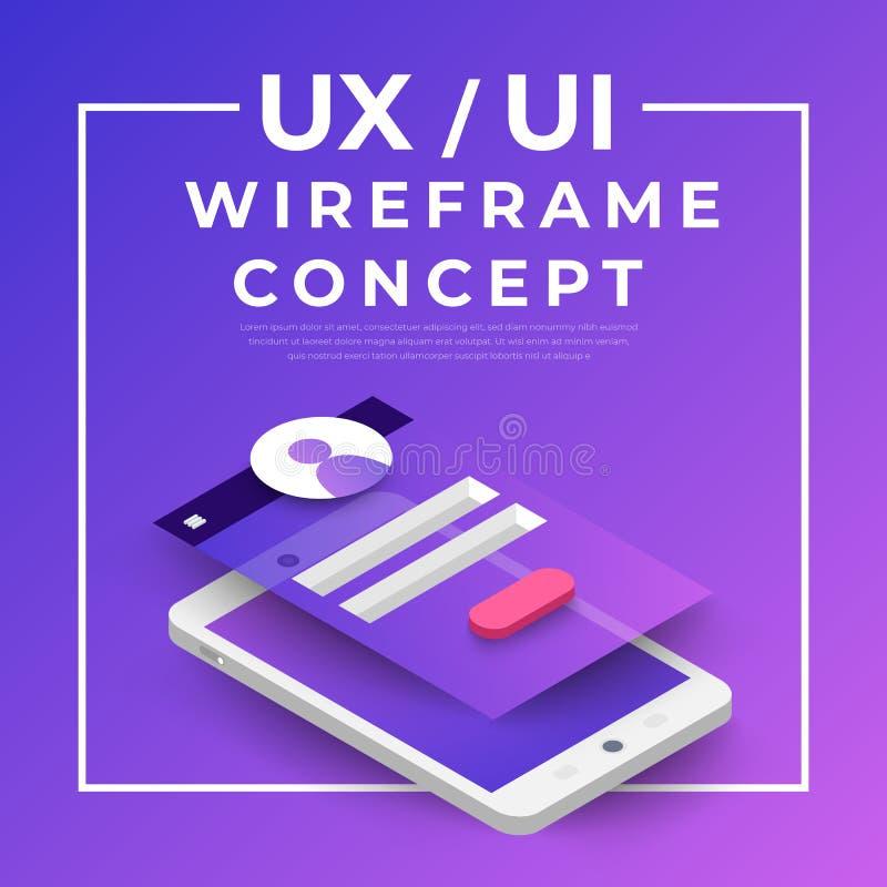 Organigrama de UX UI Concepto de la aplicación móvil de las maquetas isométrico libre illustration