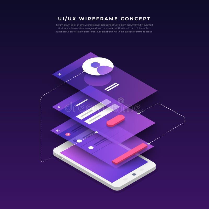 Organigrama de UX UI Concepto de la aplicación móvil de las maquetas isométrico ilustración del vector